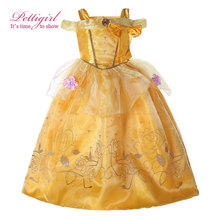 Pettigirl Summer Fancy Dress Costumes Beautiful Yellow Girls Dress With Appliques For Carnival Childrens Christmas Costumes(China)
