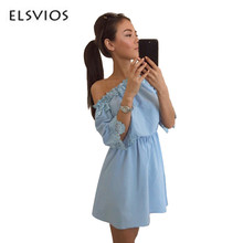 Buy ELSVIOS Women Elegant Vintage sweet lace dress sexy slash neck casual slim beach Summer Sundress ladies solid mini vestidos for $11.29 in AliExpress store