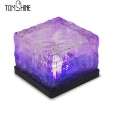 Tomshine 4Pcs Waterproof Light Sensor Creative Glass Stone Ice Cube Solar Powered Colr Changing Crystal Brick LED Night Lamp