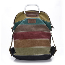 Fashion Canvas Bags Woman Multi - Functional Shoulder Bag Factory Direct Stripe Students Handbags Wholesale(China)