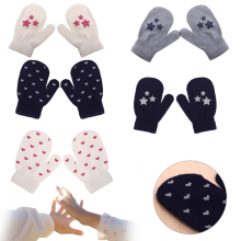 Kids Dot Star Heart Pattern Fashion Mittens Boys Girls Soft Knitting Warm Gloves
