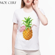 Hot Sale New Summer Pineapple Small Umbrella Women Tops Kawaii Cherry Fruit Printed Teen Girl Clothing Best Friend Tees L10-C-28(China)