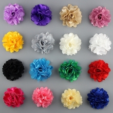 New Fashion Flower Satin Mesh Tulle Puff Flower Lace fabric flower Christmas Headband wholesale 50PCS