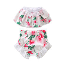 2PCS Newborn Baby Clothes Set 2017 Summer Floral Tutu Skirted Crop Tops +Lace Shorts Baby Bloomers Outfits Children Clothing Set