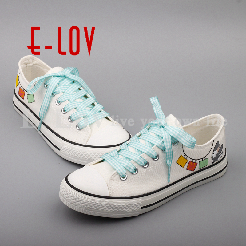 E-LOV Brand Graffiti Hand Painted Canvas Shoes Women Low Top Casual Flats Espadrilles zapatos de mujer<br>