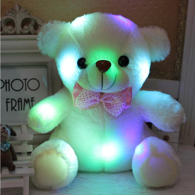 1pcs 20cm colorful glowing teddy bear luminous plush toy for Girl Baby Birthday Gift Send Kids Lovely Soft Toy<br><br>Aliexpress