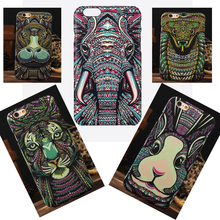Luminous Aztec Animal Case for iPhone 6 6S Plus Cover Embossed Rabbit Lion Elephant Fundas Case For iPhone 7 Plus 5 5S SE Capa