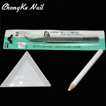 "2017 Hot Sales ""Dotting pen + triangular plate + elbow Tweezers"" Nail Tool Kit For Used Nail Art Rhinestones"