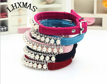 Rose Red Color Pet Collar Bling Rhinestone Pearl Necklace For Dogs Small Puppy Collars D745(China)