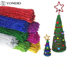 50Pcs Plush Twisted Bar 30cm Length Multicolor DIY Christmas Tree Ornament Children Kids Toy Xmas Home Party Decorations