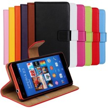 Luxury Genuine Leather Case For Sony Xperia Z3 mini Z3 Compact M55W Wallet Style Flip Stand Cell Phone Cover Bag With Card Slot