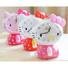 2017 Children Alarm Clock Hello Kitty Cartoon Children Mute Alarm Clock With Night Light Multiple Ring Tones Bedside Alarm Gift(China)