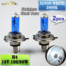 H4 12V 100/90W Halogen Bulb 2 PCS(1 Pair) 5000K Xenon Dark Blue Glass Car HeadLight Lamp Super White