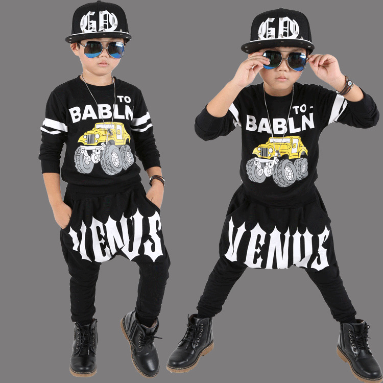 Boys Performance New Pattern Children Street Dance Show Children Cool Running Motion Clothing Suit Clothing 2 Pieces Kids<br>