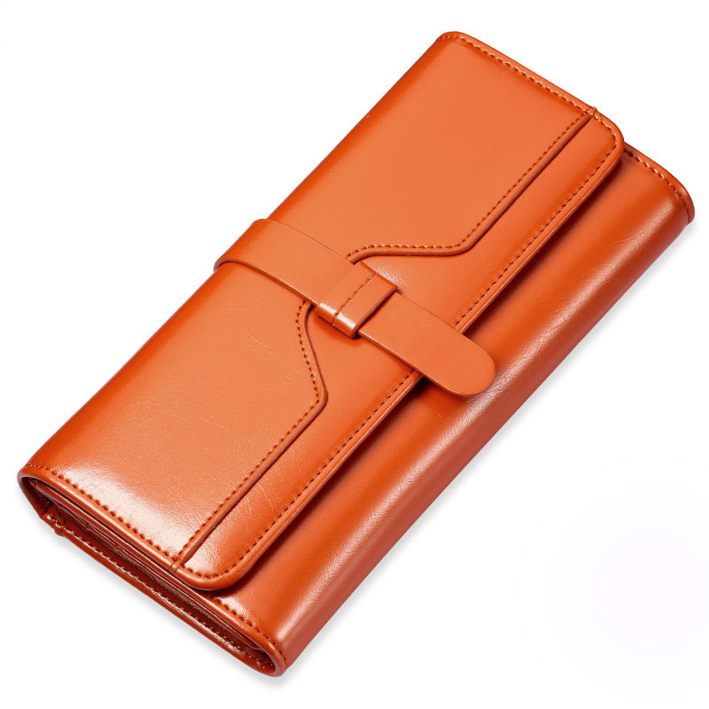 Ladies Fashion Simple Burnished Cowhide Purse Split Leather Women Trendy Korean Style Long Multi Card Holders Wallet<br>