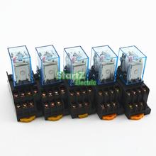 5Pcs Relay  MY4NJ  DC12V Small relay 5A 14PIN Coil DPDT With Socket Base