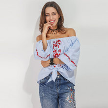 Plus Size Dressy Tops 2017 Summer Top Off The Shoulder Three Quarter Bow Embroidery Blouse Female Slash Neck Loose Tee Shirts(China)