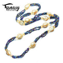 FENASY Bohemian charm design pearl necklace, long necklace, fine jewelry Profiled pearl jewelry necklace Colorful designed