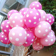 "20pcs Round Helium Quality 12inch"" Pink Polka Dot Birthday Balloons wedding decorated with decorative wave point latex balloons"