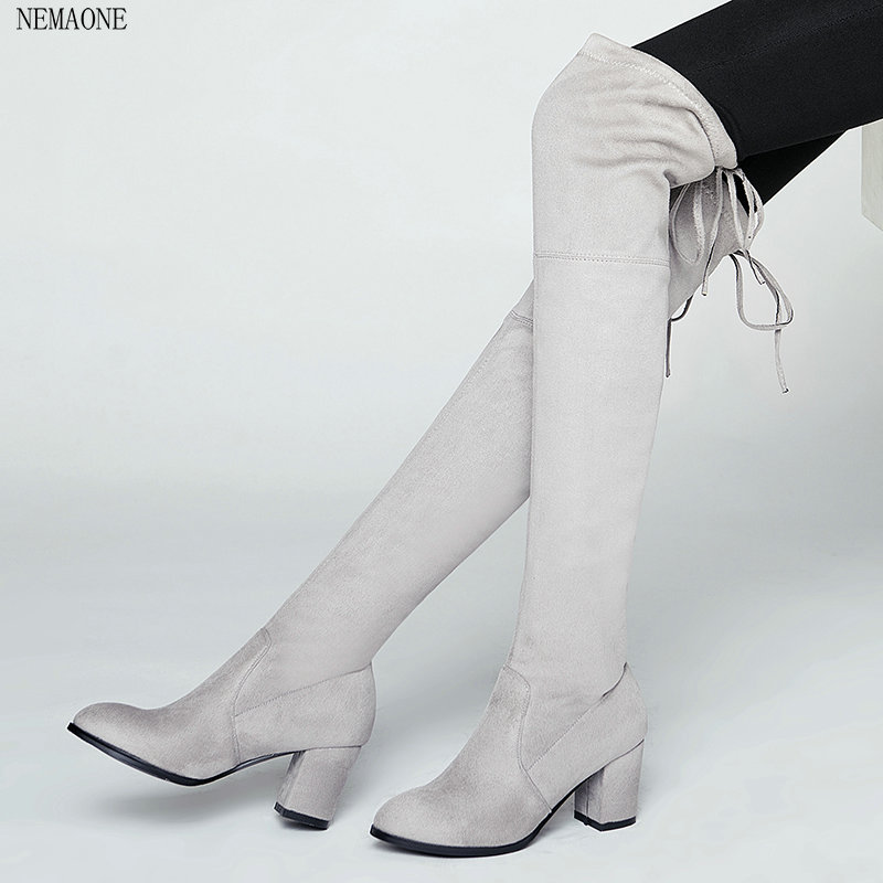 NEMAONE 2017spring and autumn Women Stretch Faux Suede Thigh High Boots Sexy Fashion Over the Knee Boots High Heels Woman Shoes <br>