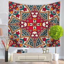 Art Decor Red Mandala Tapestry Multi-function Wall Hanging Table Cloths Home Psychedelic Door Curtain Two Sizes Hot Selling