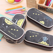 Kawaii Cartoon Totoro Leather Pencil Bag Big Capacity Zipper Cute School Pencil Case For Girls Office School Supplies  W2.76