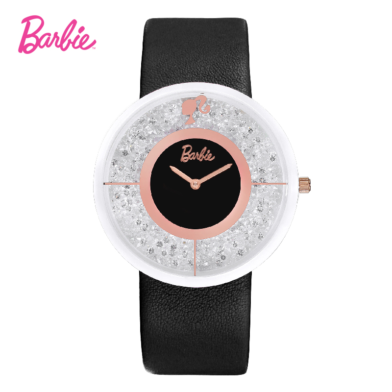 2017 Barbie women watches hot sale leather brand and metal case wristwatch for young ladies and girls gift <br>