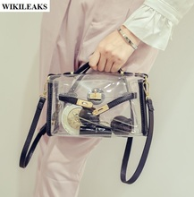 women clear jelly handbags transparent tote clutch Korean jelly beach cool crossbody shoulder ladies bolsos de pvc small bags