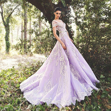 Elegant Lavender Wedding Dresses 2017 Short Sleeve Applique Bead Vestido De Noiva Sweep Train Open Back Lace Robe De Mariage