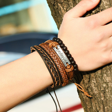 YAKAMOZ 4pcs/set Punk Leather Bracelet Women Men Multilayer Braid Rope Beads Charm Bracelets Vintage Handmade Wristband Jewelry