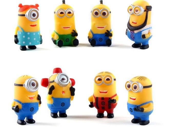 8pcs/Lot Despicable Me 2 Minions Figures 5cm PVC Minion Action Figures Plastic Toys Doll Gift For Children Juguetes<br><br>Aliexpress