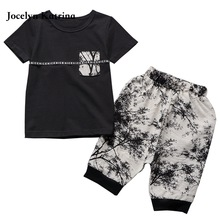 2017 summer collection of printing T-shirt + shorts pants suit baby boy clothing set