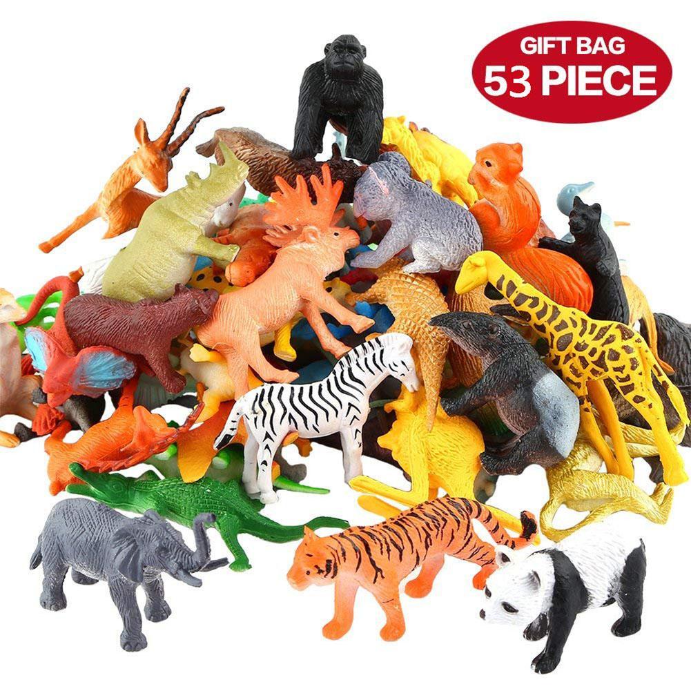 53PCS Mini Plastic Wildlife Zoo Yard Animals Model Figure Kids Toys Play Gift