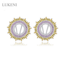 NEW Design Restoring Ancient Ways Micro Inlay AAA Zircon The Disc Type Earrings Fashion Women Luxury Wedding JEWELRY