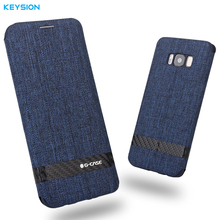 KEYSION Case for Samsung Galaxy S8 S8 Plus fashion Linen fabric and PC flip cover Kickstand case for S8 S8 Plus G950 G955