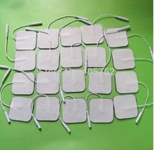 DHL Freeshipping 5000pcs/lot Tens Machine Electrode Pads with cable for full body massager pulse therapy machine pad 4*4cm(China)