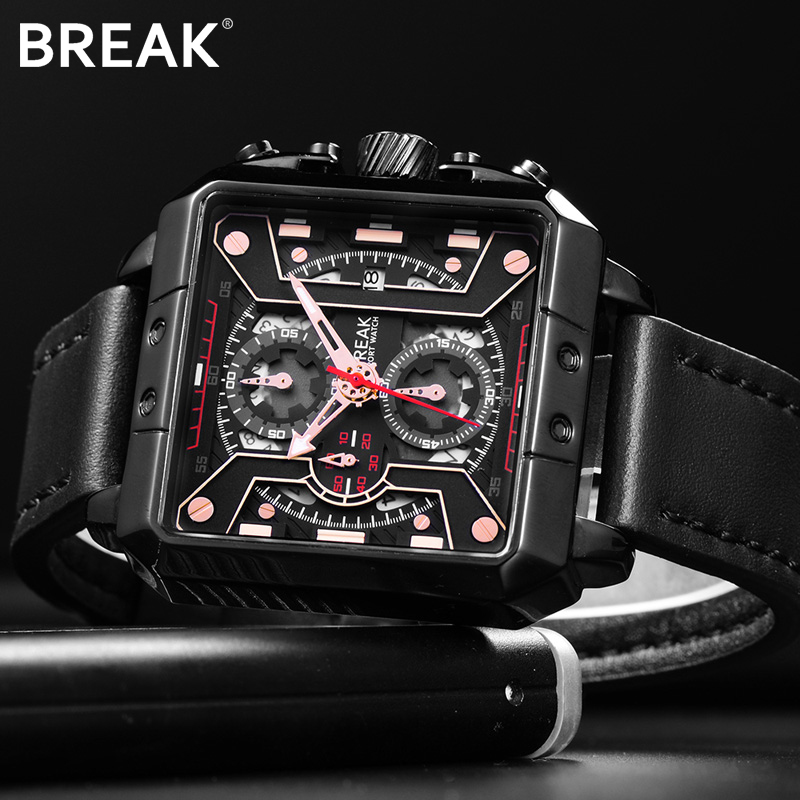 BREAK Chronograph Casual Watch Gift for Men Luxury Brand Quartz Sport Watch Genuine Leather Mens Wristwatch Relogio Masculino<br>