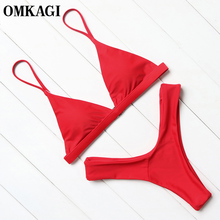 Buy OMKAGI Brand Swimwear Women Swimsuit Sexy Push Micro Bikinis Set Swimming Bathing Suit Beachwear Summer Brazilian Bikini 2019