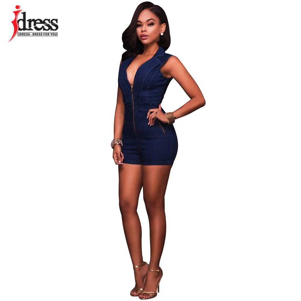 IDress Summer Deep V Neck Zippers Women Denim Playsuit Sleeveless Pockets Short Pant Ladies Bodycon Jumpsuit Party Romper Overall (3)