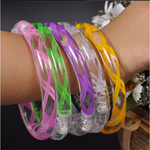 Led Wedding Dress 30pcs Light Up Toys Acrylic Led Bracelets Flashing Wristbands Blinking Multicolor Party Decoration Supplies