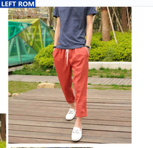 Hot sale Linen Pants Men 2017 Summer New Fashion Business Casual Men Lace Pants Male Linen Pure Color Hot sale Size S L XL 2XL
