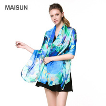 [MAISUN] Women Fashion Silk Scarves Georgette Satin Shawl(China)