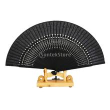 Silk Hollow Rib Flower Hand Fan Japanese Folding Fan Pocket Fan Black Free Shipping