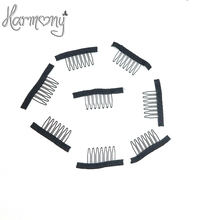 30pcs Black color wire wig combs plastic clips convenient for hair full lace wigs cap accessories styling tools(China)