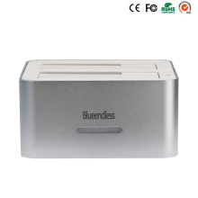 "Plastic silver double dock usb3.0 to sata hdd ssd case hdd box For 2.5"" /3.5"" to 6TB per with Clone tray"