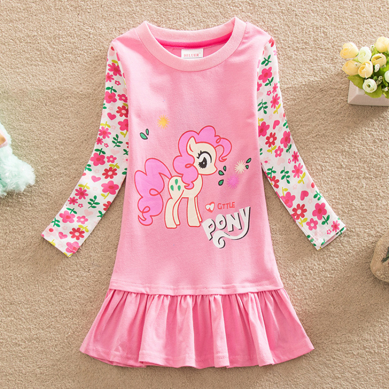 2016 Summer Children Dress Fashion Baby Clothes My Pony Baby Girl Dress Clothing Long Sleeve Dresses Cartoon Printed Little Pony<br><br>Aliexpress