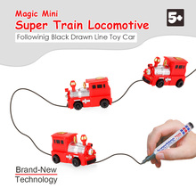 Magic Pen Inductive Car Jeep Car Truck Follow Any Drawn Black Line Track Mini Toy Vehicles early Educational gift Toy for kids(China)