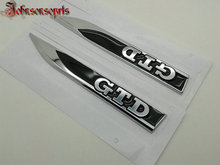1 pair=2 pcs OEM ABS GTD Car Wing side badge fender emblem Right & Left Side car stickers for MK7 7 With OEM label car-styling(China)