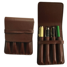 HIGH QUALITY LUXURY BROWN ROLLER AND FOUNTAIN PENS CASE HOLDER FOR 4 PEN pencil case