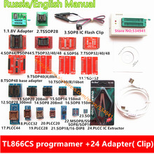 V6.6 minipro TL866CS universal programmer+24 adapters+IC clip English/Russian manual High speed TL866 Flash EPROM Programmer(China)